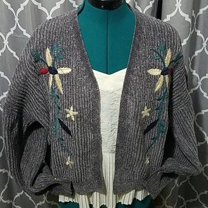 Embroidered chenille sweater cardigan